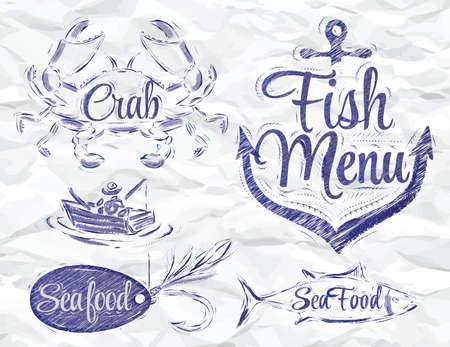 Set collectie van zeevruchten en vis menu met krab visser en vis en verankeren aas haak en gestileerd voor de tekening inkt