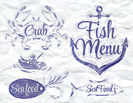 baited: Set collection of seafood and fish menu with crab fisherman and fish and anchor baited hook and stylized for the drawing ink
