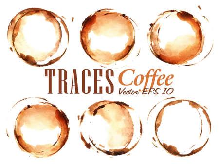 grano de cafe: Set Traces Copa dibujado verter café salpicaduras y manchas imprime Copa Vectores