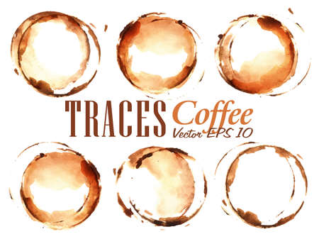 coffee and beans: Set Traces Cup drawn pour coffee splashes and blots prints Cup