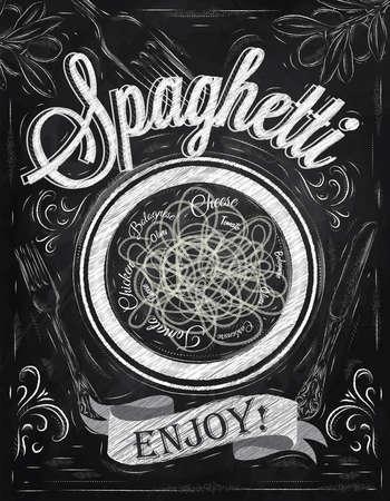 Poster belettering spaghetti genieten in retro stijl gestileerde tekening met krijt op bord Stock Illustratie