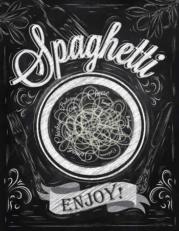 Poster lettering spaghetti enjoy  in retro style stylized drawing with chalk on blackboard   Ilustração