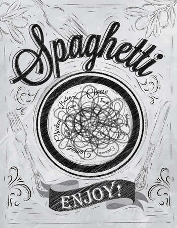 ribbon pasta: Poster lettering spaghetti enjoy  in retro style stylized drawing with inscription coal