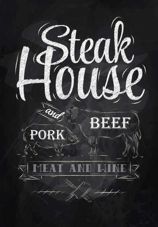 chalk board background: Poster Steak House chalk drawing with a pig and a cow in the form of letters  Illustration