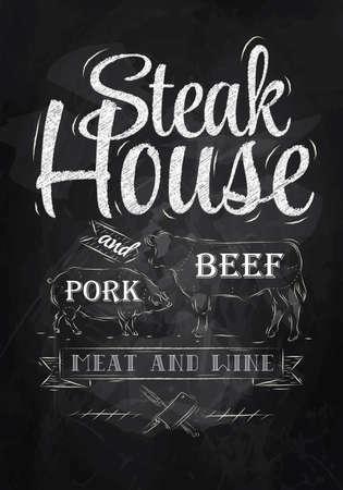 beef: Poster Steak House tiza dibujo con un cerdo y una vaca en forma de cartas Vectores