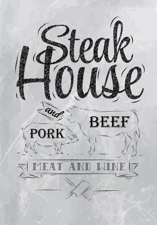 food to eat: Poster Steak House chalk coal drawing with a pig and a cow in the form of letters