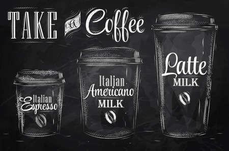 칠판에 분필로 빈티지 스타일 드로잉에 양식에 일치시키는 커피 마시는 컵 크기의 세트