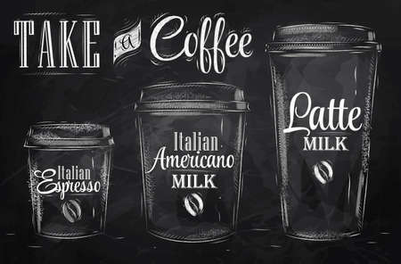 coffee to go: Set of Coffee drinking cup sizes in vintage style stylized drawing with chalk on blackboard