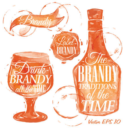 brandy: Pointer drawn pour brandy with the inscription brandy is always good idea with splashes and blots prints bottle, brandy, glass, stamp   Illustration