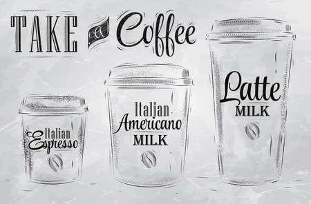 Ensemble de café tailles de tasse de boisson dans le style vintage dessin stylisé avec du charbon sur le tableau noir