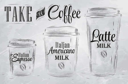 caf� � emporter: Ensemble de caf� tailles de tasse de boisson dans le style vintage dessin stylis� avec du charbon sur le tableau noir