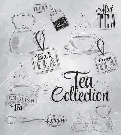 обращается: Набор сбора чая с чашкой чая и чайных пакетиков в винтажном стиле стилизованный рисунок углем на доске Иллюстрация