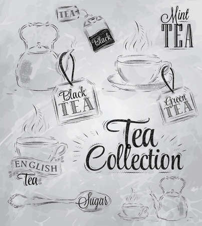 Set of tea collection with a tea cup and tea bags in vintage style stylized drawing with coal on blackboard