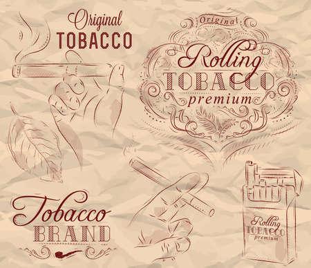 tabaco: Colección de tabaco y fumar un paquete de cigarrillos de tabaco del vintage deja las manos con un cigarrillo en un papel arrugado en marrón