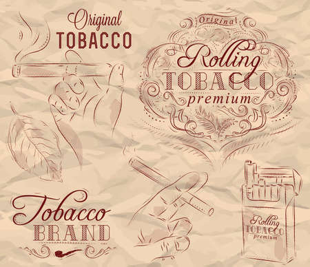 ash: Collection on tobacco and smoking a pack of cigarettes vintage tobacco leaves hands with a cigarette on crumpled paper in brown