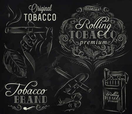 tabaco: Set colección de tabaco y fumar un paquete de cigarrillos cigarro del tabaco del vintage, tubo, todas fumar estilizado dibujo con tiza en una pizarra