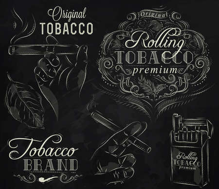 smoking pipe: Set collection on tobacco and smoking a pack of cigarettes vintage tobacco cigar, pipe, all smoking stylized drawing with chalk on a blackboard