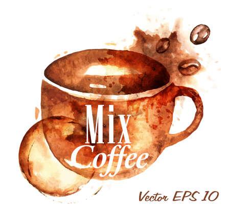 Cup getrokken giet koffie met de inscriptie mix koffie met spatten en vlekken drukt Cup