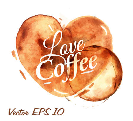 Corazón dibujado verter el café con el café amor de la inscripción con salpicaduras y manchas imprime Copa Foto de archivo - 25936070