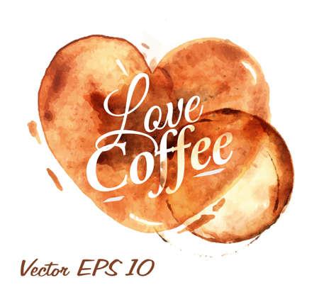 chicchi di caff�: Cuore dissipato versare il caff� con il caff� iscrizione d'amore con schizzi e macchie stampa Cup Vettoriali