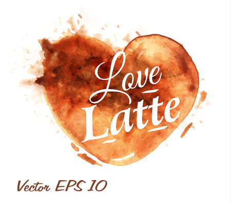 lave: Heart drawn pour coffee with the inscription love latte with splashes and blots prints Cup