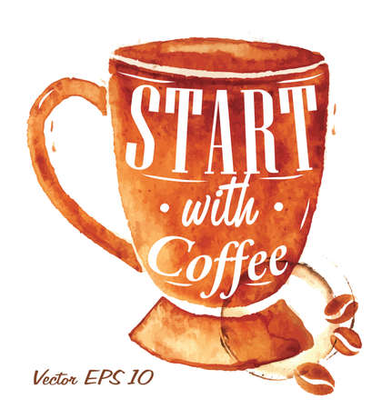 coffee stain: Big cup drawn pour coffee with the inscription Start with coffee with splashes and blots prints Cup  Illustration