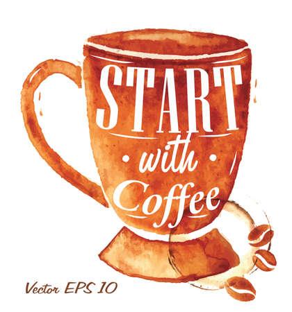 Große Tasse Kaffee gießen gezogen mit der Aufschrift Start mit Kaffee mit Spritzern und Flecken druckt Cup Standard-Bild - 25936073