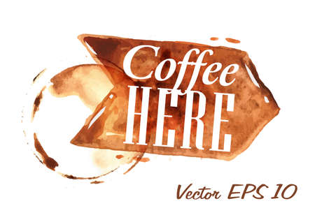 Pointer drawn pour coffee with the inscription coffee here with splashes and blots prints Cup Vector