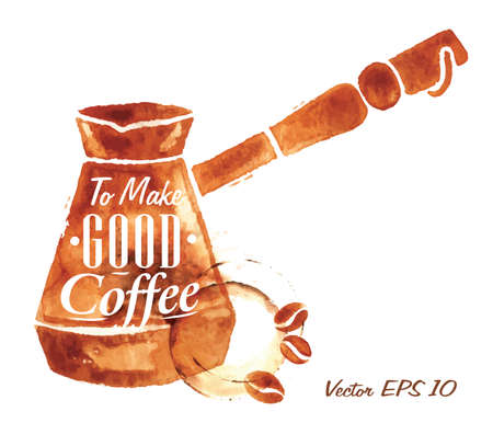 Turkse Coffee Pot getrokken giet koffie met de inscriptie To Make Goede koffie met spatten en vlekken drukt Cup