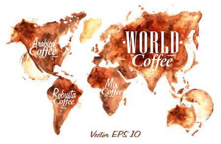 chicchi di caff�: Mappa del mondo di caff� disegnato versare il caff� con il caff� iscrizione arabica, caff� Robusta con schizzi e macchie stampa Cup
