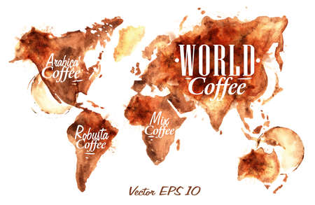 World Map of coffee drawn pour coffee with the inscription arabica coffee, Robusta coffee with splashes and blots prints Cup