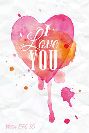 Watercolor Valentines Day Heart lettering I love you in pink, red and orange color on light background
