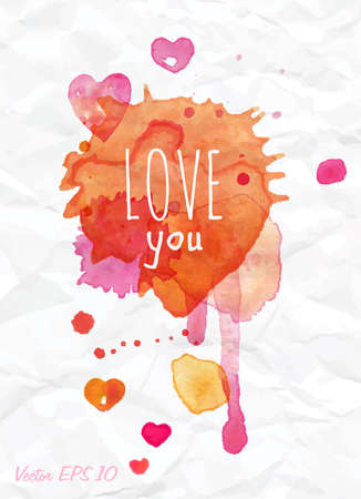 Watercolor Valentines Day Heart lettering Love you in pink, red and orange color on light background   Vector