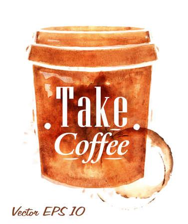 描かれたコーヒーのプラスチック製のコップは、水しぶきを取るコーヒー碑文とコーヒーを注ぐし、しみ印刷カップ