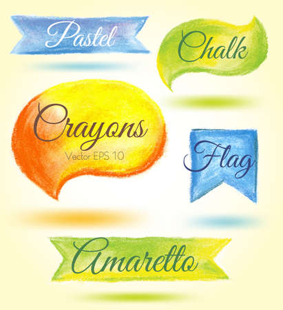 crayon drawing: Set watercolor speech bubbles ribbons flags Vector illustration crayon, pastel in warm colors