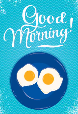 Poster lettering Good morning with a blue plate of fried eggs on which the person is smiling on a blue background