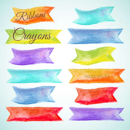 crayon: Set watercolor ribbons Vector illustration crayon, pastel  Illustration