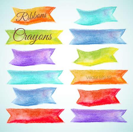 crayon drawing: Set watercolor ribbons Vector illustration crayon, pastel  Illustration