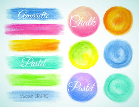 watercolor smear: Set watercolor round, smear and spot ,Vector illustration crayon, pastel
