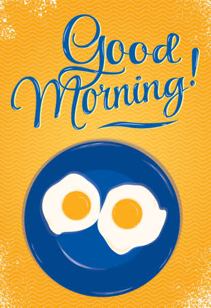 Poster lettering Good morning with a blue plate of fried eggs on which the person is smiling on an orange background  Ilustracja