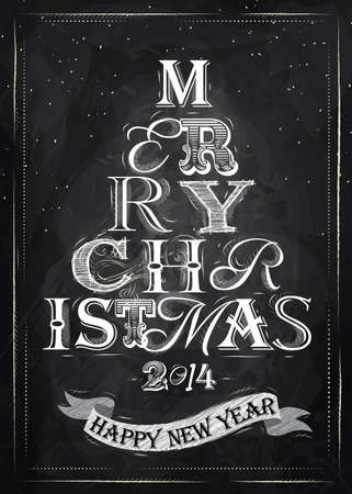 Merry Christmas lettering tree from letters stylized for the drawing with chalk on the blackboard   Vector