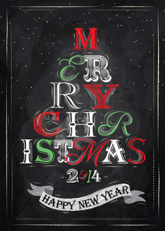 Merry Christmas lettering collection of Christmas tree from letters stylized for the drawing with chalk of red, green on the blackboard   Vector