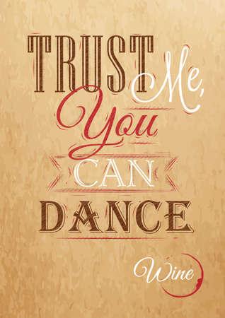 信頼私は踊ることができる赤、白、茶色のクラフト ペーパーに図面の様式化されたレタリング ポスター  イラスト・ベクター素材