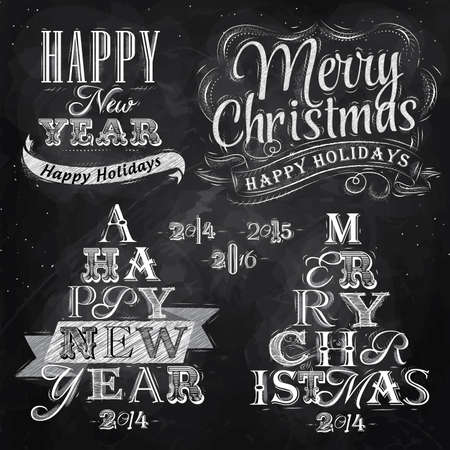 Merry Christmas and New Year lettering collection of Christmas tree from letters stylized for the drawing with chalk on the blackboard