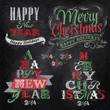 Merry Christmas and New Year lettering collection of Christmas tree from letters stylized for the drawing with chalk of red, green on the blackboard