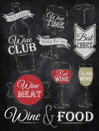 white wine: Set of wine, wine club, wine red, wine white, wine glass and stylized for the drawing with chalk of red, white on the blackboard