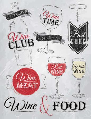 Set collectie van wijn, wijn club, wijn rood, witte wijn, wijnglas en gestileerd voor het tekenen met steenkool van rood, wit, bruin op bord