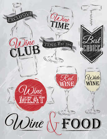 Set collection of wine, wine club, wine red, wine white, wine glass and stylized for the drawing with coal of red, white, brown on blackboard   Illustration