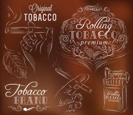 Set-Sammlung auf Tabak und Rauchen einer Schachtel Zigaretten Vintage Tabakblätter Hände mit einer Zigarette auf einem braunen Hintergrund