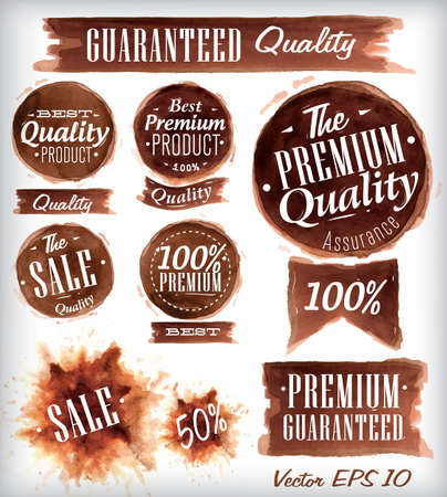 coffee stain: Set of watercolor Old Premium Quality Badges collection stylized watercolor brush strokes of brown